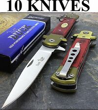 "10 x 9"" DUCK SPRING ASSISTED TACTICAL STILETTO WOOD POCKET KNIFE Wholesale Lot"