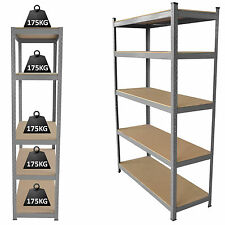 5 Tier Boltless Industrial Racking Garage Shelving Storage Heavy Duty Shelf Rack
