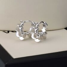 Charms 18k White Gold Filled Lady Unique Hoop Earrings Huggie GF Fashion Jewelry