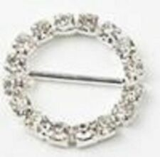 Round Rhinestone Silver Buckle Embellishment, 1.75-inch, 4-pack