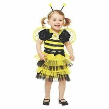 Buzzy Bee Costume Black Yellow Dress with Wings Toddler Girls Size 2T - 3T New!