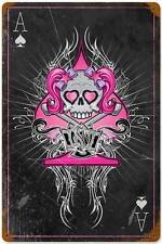 Lethal Threat Ace Card Pink Girl Skull Metal Sign Club Home Decor LETH65