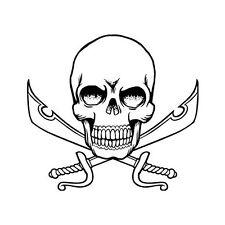 Autocollant tête de mort skull sticker sabre épée logo 4 8 cm