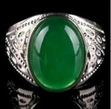 beautiful tibet silver green jade men's ring