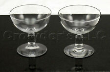 Clear Molded Cut Glass Square Stalk Dessert Cup Dish - Set of 2