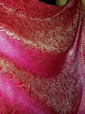 "1M cerice pink /gold COLOUR PAISLEY METALLIC BROCADE /JACQUARD FABRIC 58"" WIDE"