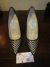 JIMMY CHOO ABEL SHOES WOVEN BLACK KID LEATHER AND GOLD METALLIC SIZE 39 US 9 NEW