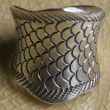 Fish Scale Karen Hill Tribe Ring Pure Silver Size.US=10 UK=T Adjustable
