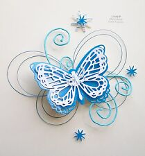 3D  FLOWER, BUTTERFLY AND WIRE CARD CRAFT TOPPER  GEN 17-3 Blue