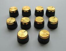 10x Guitar AMP Amplifier Knobs Black w/ Gold Cap Push-on fits Marshall Amplifier