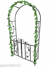 New Metal Garden Arch With Gate Archway Ornament For Climbing Plants