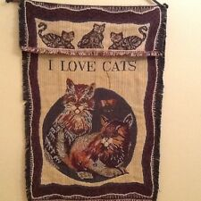 Kitty Cats Woven Art Tapestry Wall Hanging & Rod Set VTG 1995 Made in India