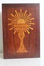 Superbe Boîte en Bois Marquetté HOSTIE EUCHARISTIE COMMUNION Collection religion