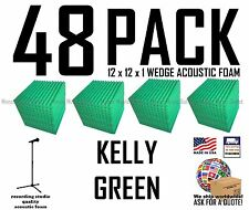 48 pack KELLY GREEN Acoustic Wedge Studio Soundproofing Foam Wall Tiles 12x12x1