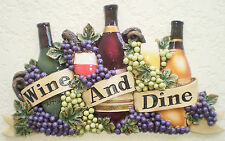 New Wine Wall Plaque Dine Bottle Grapes Art Cafe Kitchen Mom Gift Home Decor 3D