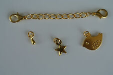 Gold Plated Extender and lobster clasp, Cute Bird, Star & Teardrop