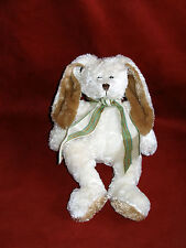 "Galerie Au Chocolat White plush floppy 12"" Bunny with brown"