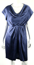 VALENTINO ROMA NWT Periwinkle Silk Draped Front Cocktail Dress 10
