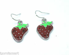 Girls Lady's Silver Hook Ruby Gem Strawberry Ear Stud / Dangle Earrings