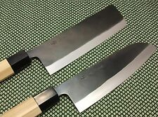 Japanese Chef's Knife Set Santoku Nakiri Handmade Kurouchi Made in Japan