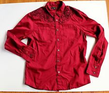 Guess Men's L Red & Black Embroidered Diamond Snap-Front Western LS Shirt Nice