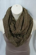 Echo Design Infinity Loop Brown Gold Acrylic Metallic Weave Cowl Scarf