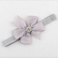 Cute Baby Girls Toddler Flower Headband Bow Elastic Hair Band Accessories Grey