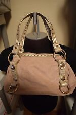 KATHY VAN ZEELAND BEIGE SUEDE WITH FAUX SNAKESKIN AND BRASSTONE HARDWARE PURSE