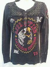 AFFLICTION THE BUCKLE AMERICAN CUSTOMS CROCHET LACE THERMAL LONG SLEEVE TOP S