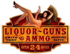 Liquor Guns Ammo Pin-Up Greg Hildebrandt Metal Sign