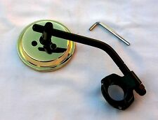 """Brass Plated 3 Inch Mirror wih Black Stem & Clamp for 1"""" & 7/8"""" Bars; HD, Bobber"""