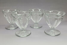 4 Anchor Hocking panel tulip ice cream footed sherbet sundae dishes Fountainware