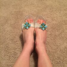 Stuart weizman gray brocade Stiletto Slides With Jewels