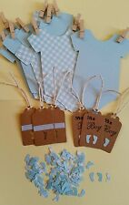 BABY SHOWER KIT BOYS !BABYGROW BUNTING,TINY FEET TABLE CONFETTI, 6 GIFT TAGS!