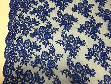 Royal Blue Modern Roses Embroider And Corded On A Mesh Lace -yard