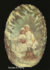 German Embossed Scrap Die Cut -Large  Precious Oval Winter's Children    BK5047
