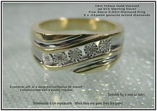 Men's mans new old stock 18ct or jaune vermeil real .05ct diamants ring uk t