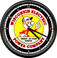 Reddy Kilowatt Electrician Utility Lineman Electrical Wisconsin Sign Wall Clock