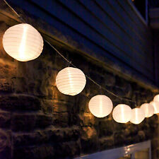 "47.5 Ft. Strand of 20 White LED Connectable 6"" Lantern Patio String Lights Timer"