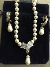 Swarovski Ribbon of Crystals Faux Pearl Necklace & Earrings Set Signed - LOVELY!