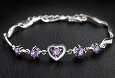 Sterling Silver Swarovski Elements Crystal Amethyst Heart Bracelet Chain Box B15