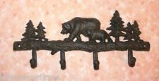 NEW~Cast Iron Bears & Pines Hook Bar Rack Lodge Cabin Rustic Coat Hat Towel Keys
