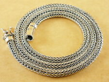 "New Thick Woven Foxtail Wheat 925 Sterling Silver Necklace Chain 5mm 24"" 83g"