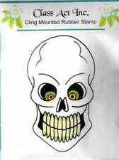 New Class Act CLing Mounted Rubber Stamp HALLOWEEN SKELTON HEAD free us ship
