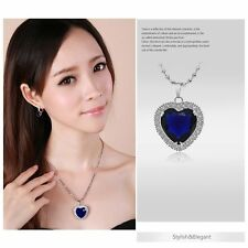 White Gold Filled Blue Sapphire Heart of the Ocean Titanic Pendant Fit Necklace