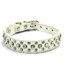 Pet Dog Puppy Cat Vogue Rhinestones Crystal Diamante Leather Buckle Collars