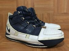RARE�� Nike Air Zoom LeBron III 3 White Midnight Navy Silver Sz 12 312147-141