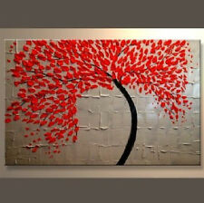 Red Tree Hand Painted Oil Painting on Canvas Abstract Wall Art for Home Decor