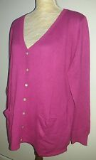 BNWOT Damart Ladies Size 18 20 Pink Button Cardigan Cashmere Silk Spring Knit +