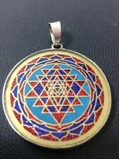 "Sri Yantra OM Necklace 1.5"" Turquoise Gemstone Pendant Sterling Silver Mystical"